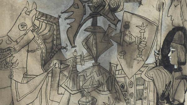 Одна из картин Пабло Пикассо, проданная на аукционе Christie's (Рыцарь, паж и монах)