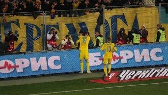 Евгений Селезнев празднует забитый гол в ворота сборной Словении