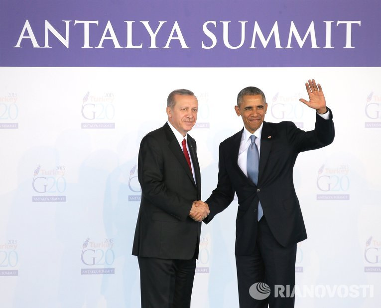 Президент США Барак Обама принимает участие в саммите G20 в Турции