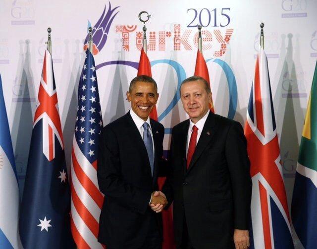 Барак Обама и Реджеп Эрдоган на саммите G20 в Турции
