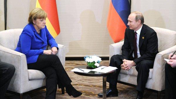 Ангела Меркель и Владимир Путин. Архивное фото