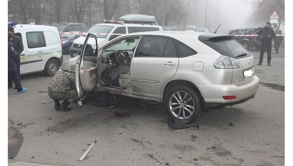 На месте взрыва джипа в Киеве