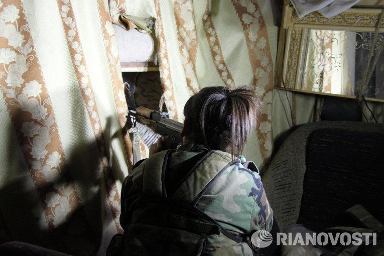Спецполк Сирийской армии в пригороде Дамаска