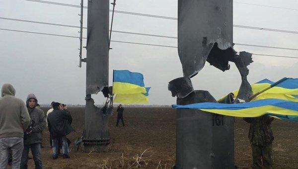 На месте конфликта у ЛЭП в Крым в Херсонской области