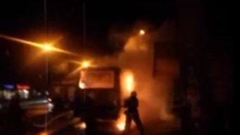 Поджог автобуса в Полтаве. Видео
