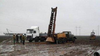Восстановление опор ЛЭП в Чаплинке Херсонской области на границе с Крымом