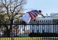 Мужчина во флаге США перелез забор Белого дома. Видео