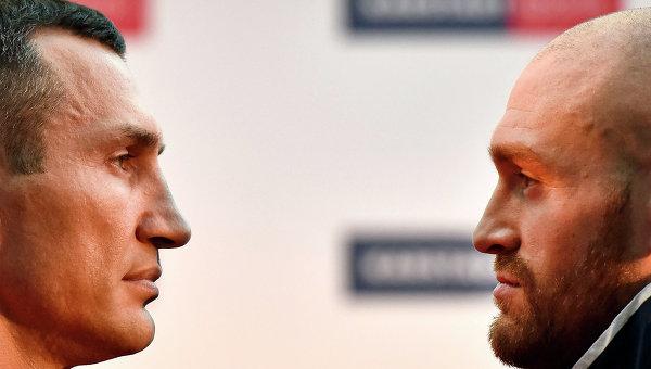 Взвешивание Владимира Кличко и Тайсона Фьюри перед боем