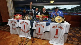 Пресс-конференция абсолютного чемпиона по боксу в супертяжелом весе Тайсона Фьюри