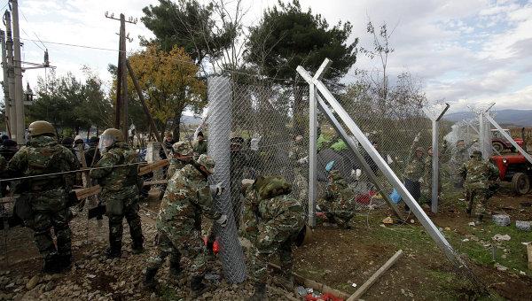 Мигранты на границы Македонии и Греции