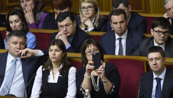 Ложа правительства Украины в Верховной Раде во время выступления Джо Байдена 8 декабря 2015 г