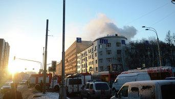 Пожар в здании культурного центра ГУ МВД России