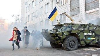 Полиция Донецкой области отработала план защиты областного главка от нападения