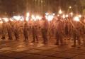 Факельное шествие полка Азов в Мариуполе