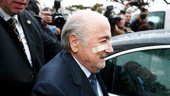 Президент Международной федерации футбола (ФИФА) Йозеф Блаттер, отстраненный на 8 лет от футбола решением арбитражной палаты комитета ФИФА по этике