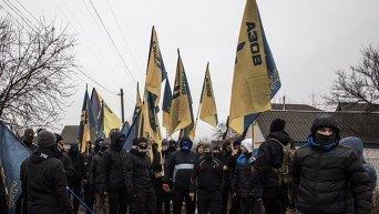 Протесты в Краснокутске под Харьковом против действий правоохранителей. Архивное фото