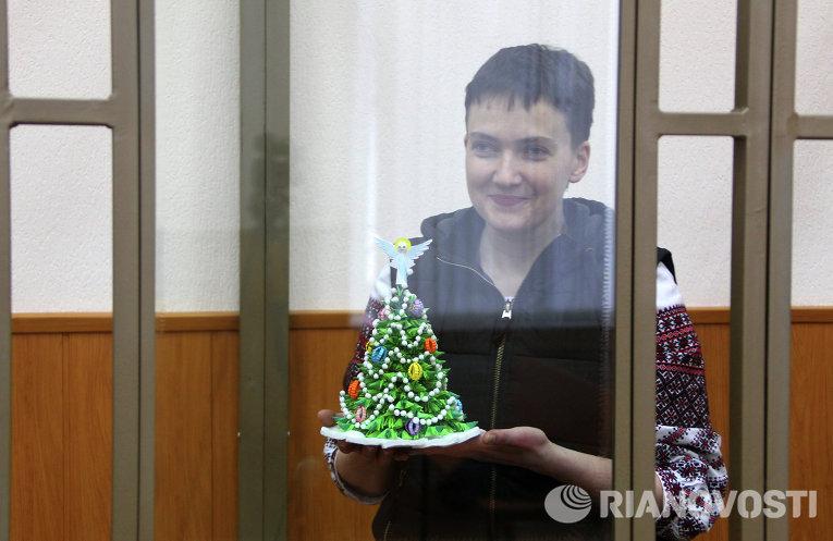Надежда Савченко на заседании суда в Ростовской области