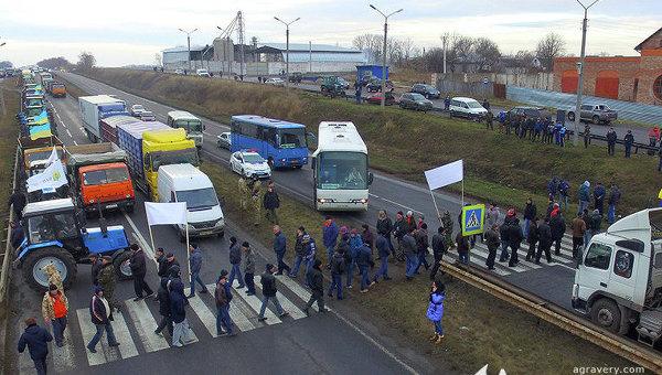 Акция протеста аграриев в Киевской области, перекрыта трасса Киев-Одесса