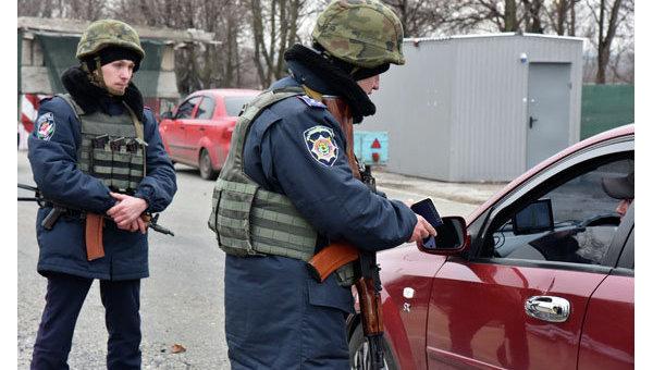 Работа блокпоста в Донецкой области