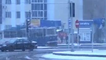 Предновогодний снег в Донецке. Видео