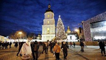 Новый год в Киеве. Софийская площадь