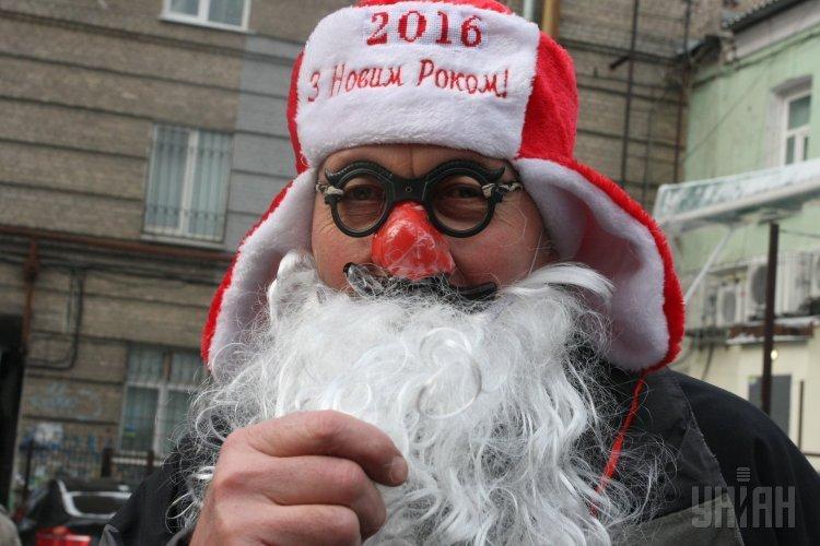 Забег Дедов Морозов в Днепропетровске
