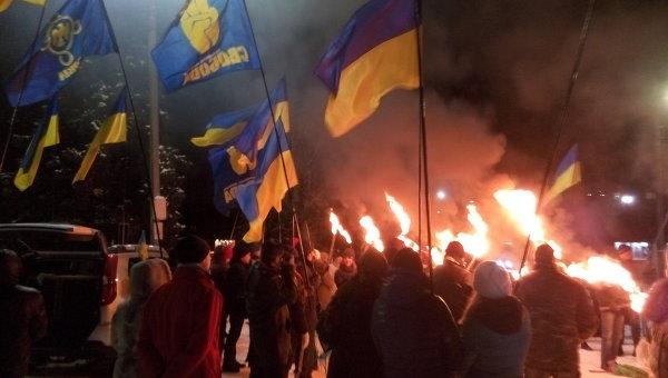 Марш в честь годовщины рождения Степана Бандеры в Славянске