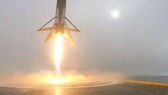 Жесткая посадка ракеты-носителя Falcon 9 на плавучую платформу в Тихом океане после запуска спутника Jason-3