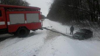 Последствия снегопада в Киевской области. Обуховский район