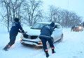 Снегопад на границе Одесской и Николаевской областей. Архивное фото