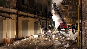 Пожар на Михайловской в центре Киева