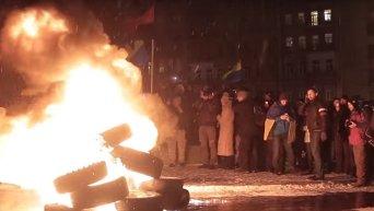 Правый сектор и Автомайдан отметили поджогом шин 2-ю годовщину Майдана. Видео
