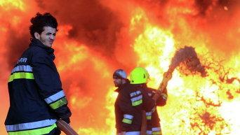 Пожар на нефтебазе в Ливии
