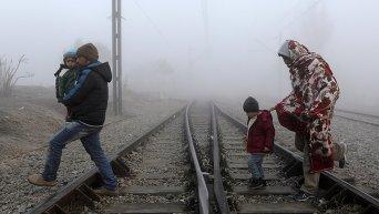 Сирийский и афганские мигранты на границе Турции