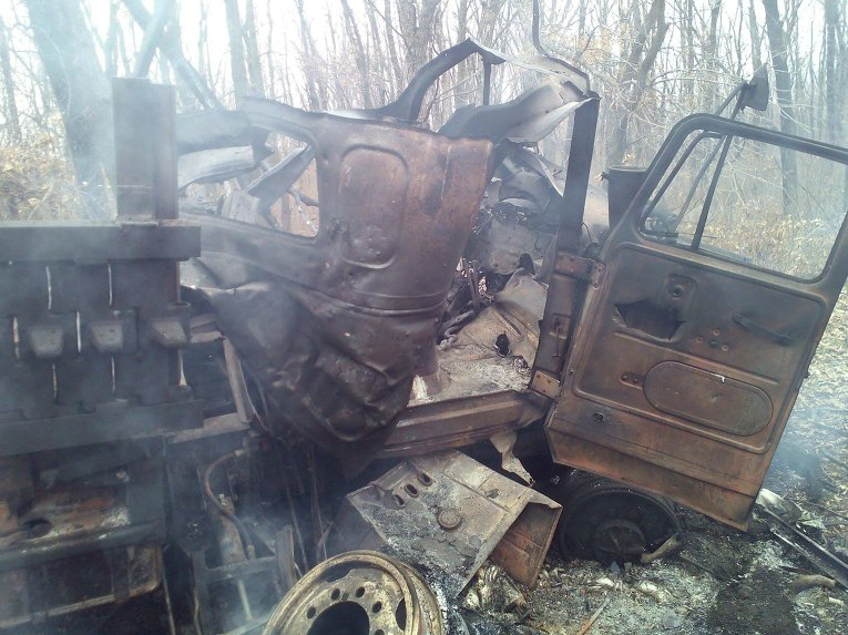Грузовой автомобиль батальона ВСУ подорвался на мине