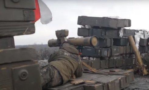 Обстрел позиций ополченцев ДНР бойцами ДУК ПС под Донецком. Видео