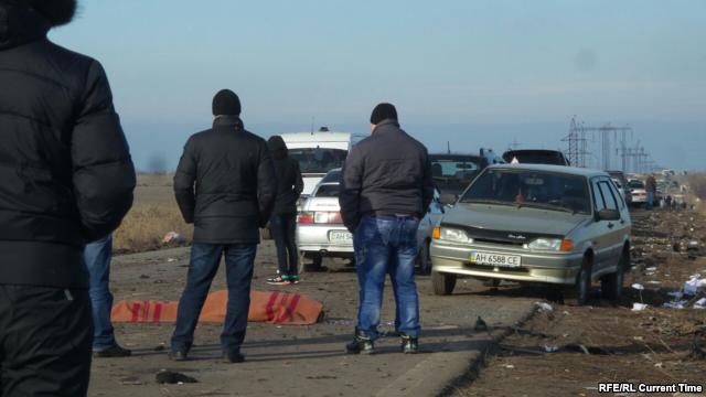 На месте подрыва автобуса под Марьинкой