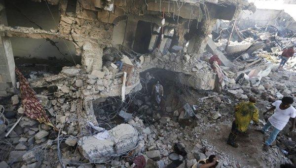 Разрушения после боевых действий в Йемене
