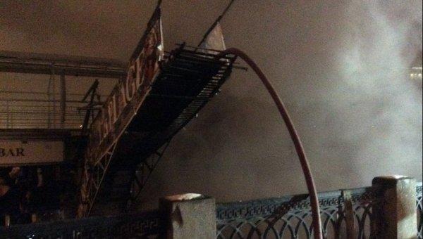 Пожар дебаркадера  у гостиницы Украина в центре Москвы