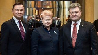Анджей Дуда, Даля Грибаускайте и Петр Порошенко на Мюнхенской конференции