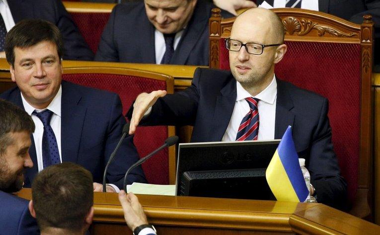 Премьер-министр Украины Арсений Яценюк во время отчета Кабмина в Верховной Раде.