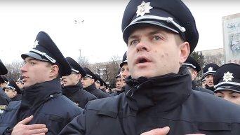 Патрульная полиция Винницы поет гимн Украины. Видео