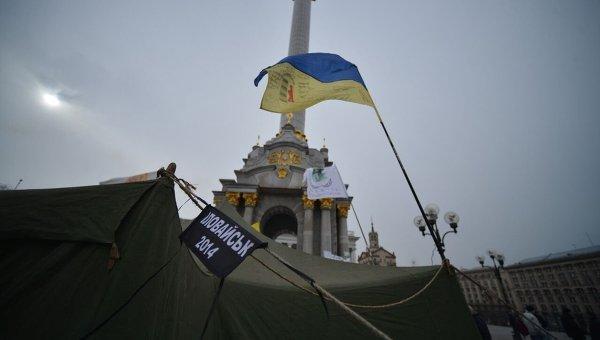 Немногочисленный протест на Майдане Незалежности. Архивное фото