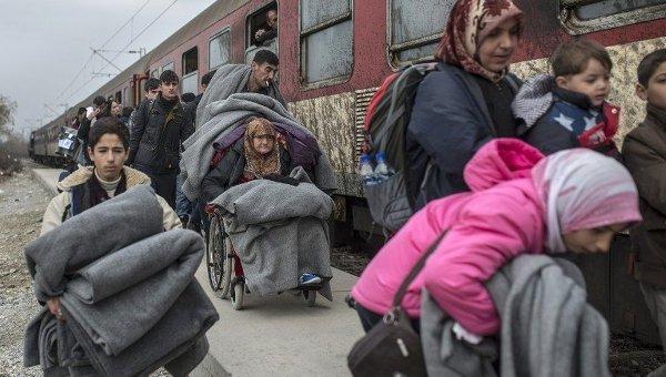Мигранты на греко-македонской границе.