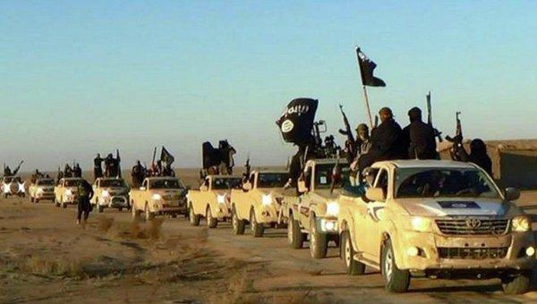 Колонна автомобилей с боевиками ИГ. Архивное фото
