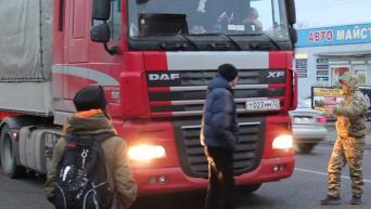Блокирование российской фуры представителями Свободы возле Стрыя Львовской области