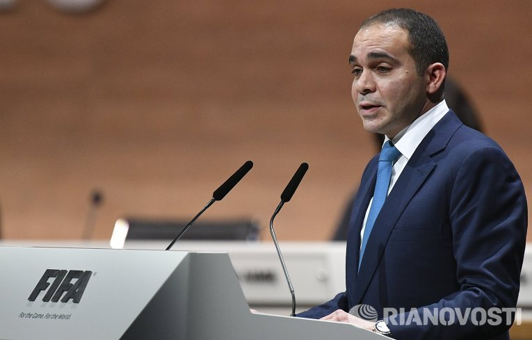 Кандидат в президенты Международной федерации футбола (ФИФА), принц Иордании Али бин Аль-Хусейн