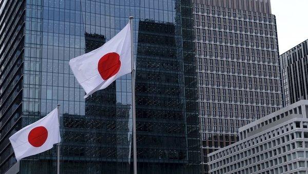 Флаг Японии в деловом квартале Токио