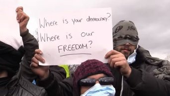 Протест беженцев из-за сноса лагеря в Кале. Видео