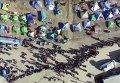Лагерь беженцев в Греции с высоты птичьего полета. Видео